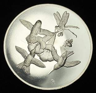 1971 Ruby-Throated Bird Franklin Mint Sterling Silver