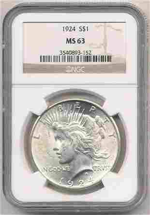 1924 NGC MS63 PEACE SILVER DOLLAR
