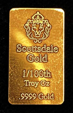 Scottsdale Gold Bar 1/100th Of A Troy Ounce .999 Fine