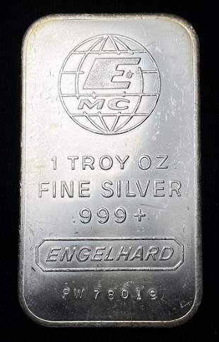 Vintage Engelhard 1 Oz. Silver Bar