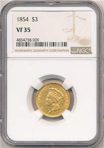 First Year 1854 $3 Gold NGC VF35