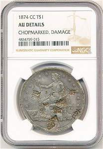 1874 Rare Carson City Trade Dollar With Chop Marks