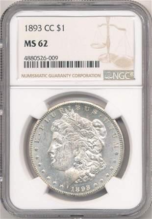 1893-CC Carson City Morgan Silver $1 NGC MS62 PL Obv.