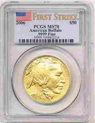 2006 (1) Ounce Gold Buffalo PCGS MS70 First Strike