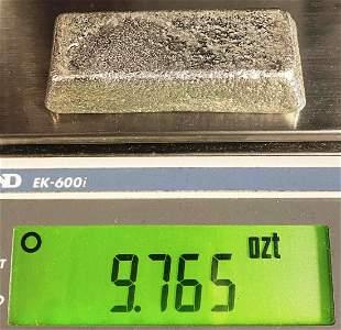 98.82% Fine Silver Vintage Unknown Mine Bar 1954 9.76oz