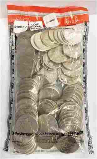 (100) Low Grade Peace Silver Dollars