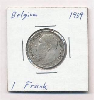 1909 Belgium 1 Frank .825% Silver Coin