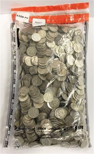 $100 Face Value 90% Silver Dimes (1000 Coins)