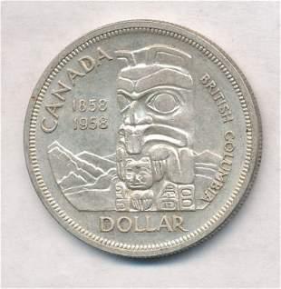 1958 Canada British Columbia Centennial Silver Dollar