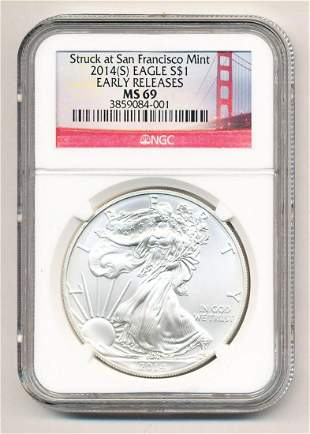 2014-S Silver Eagle NGC MS69 Early Releases S.F. Bridge