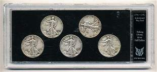 1941-1945 Walking Liberty Silver Half Dollars in Case