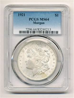 1921 Morgan Silver Dollar PCGS MS 64