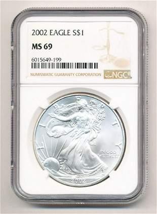 2002 American Silver Eagle 1 oz .999 NGC MS 69