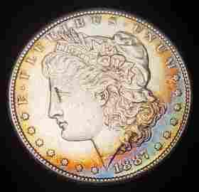 1887-S Crecent Arizona Blue Toning Morgan Silver Dollar