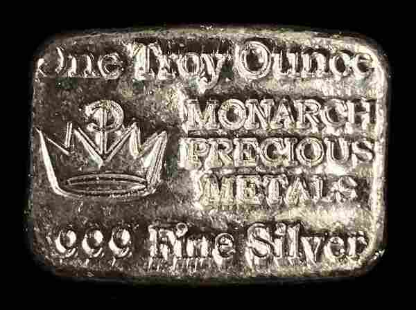 1 oz .999 Silver Monarch Precious Metals Poured Bar