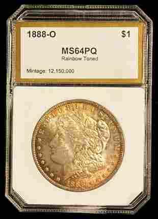 1888-O Morgan Silver Dollar PCI MS64 Rainbow Toned
