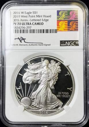 2016-W Silver Eagle PF70 Ultra Cameo Mercanti Signature