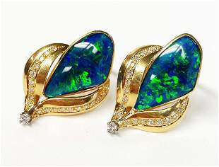 Vintage 18k Gold Earrings w/ Boulder Opals And Diamonds