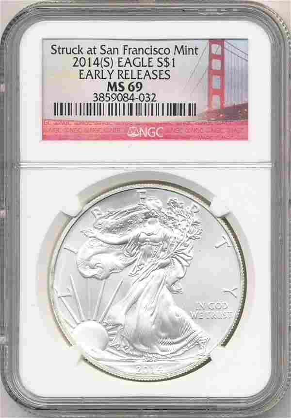 2014-S Silver Eagle NGC MS69 Early Releases