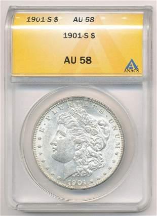 1901-S Morgan Silver Dollar ANACS AU58