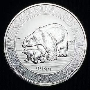 1.5 OZ 2015 Polar Bear Silver Canadian Maple Leaf