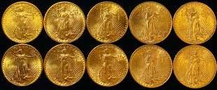(10) 20 Dollar Gold St. Gaudens Brilliant Uncirculated!