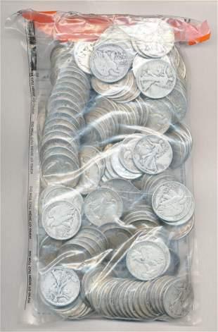 SEALED EVIDENCE BAG $100 FV SILVER WALKERS 50C