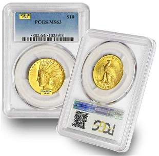 LOT OF TEN (10) $10.00 INDIAN HEAD GOLD PCGS MS 63