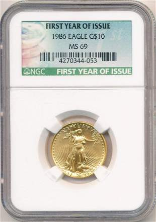 1986 First Year Of Issue $10 Gold Eagle NGC MS69