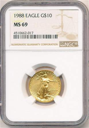 1988 $10 Gold Eagle NGC MS69