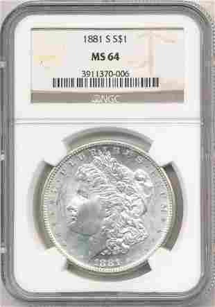 Hot Morgan Silver Dollars! 1881-S NGC MS64