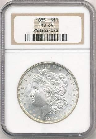 Hot Morgan Silver Dollars! 1885 NGC MS64
