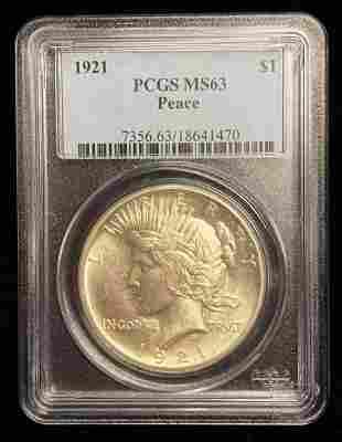 1921 Key Date Peace Silver Dollar PCGS MS63