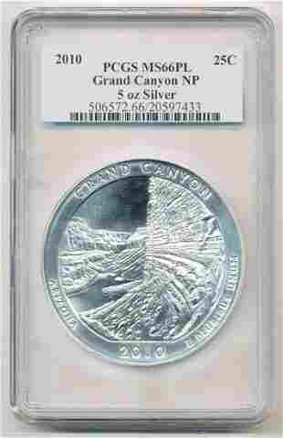 2010 Grand Canyon NP AZ ATB 5 oz Silver PCGS MS66