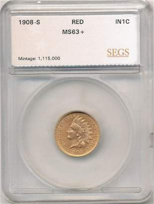 1908-S Indian Head Cent Red MS63+