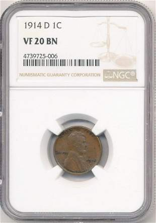 1914-D Lincoln Cent NGC VF20 BN