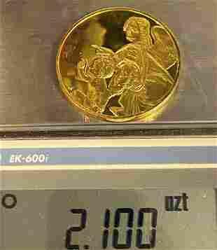 Pointing Angel Huge Sterling Golden Silver Medal