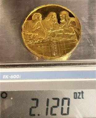Apostles Last Supper Huge Sterling Golden Silver Medal