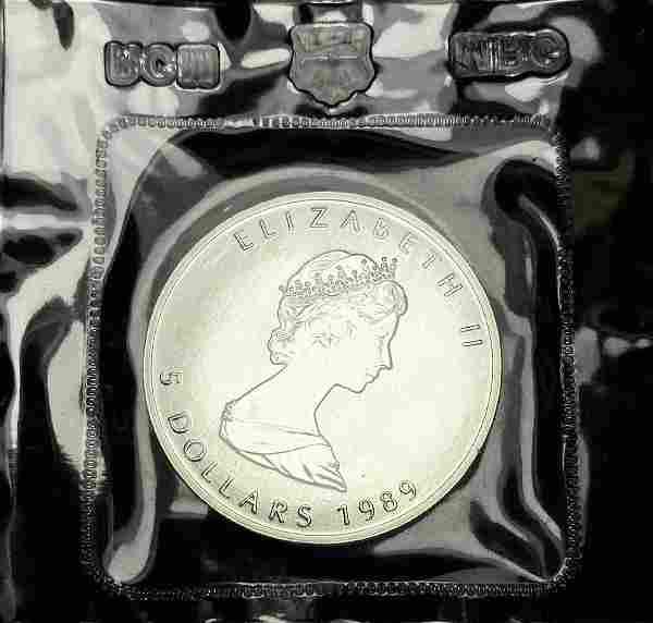 1989 Mint Sealed Canadian Maple Leaf Silver 1 oz .9999