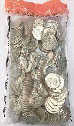 BAG OF ALMOST MINT 90% SILVER 1964 KENNEDY $100 FV