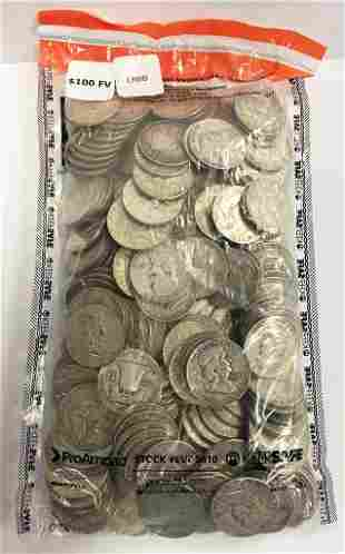 $100 Face 90% Silver Franklin Half Dollars (200 Coins)