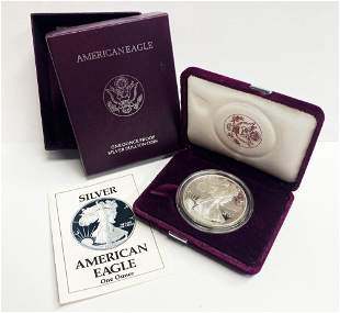 Proof 69 1990 American Silver Eagle OGP
