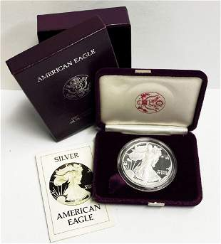 Proof 69 1986 American Silver Eagle OGP