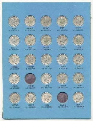 Partial Mercury Dime 10C Collection 1926-1936