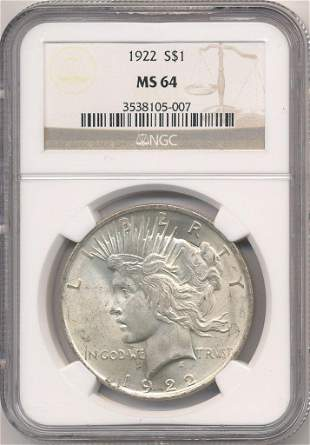1922 US PEACE SILVER DOLLAR NGC MS64