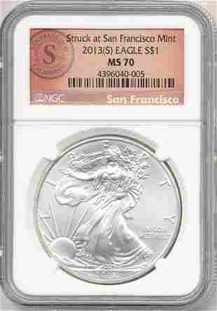 2013-S American Silver Eagle NGC MS70