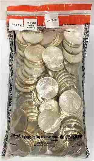 (100) Almost Mint Peace Silver Dollars