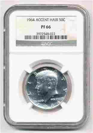 1964 Accent Hair Kennedy Silver Half Dollar NGC PF66
