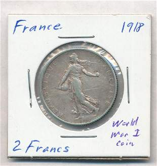 1918 France 2 Francs 82.5% Silver Coin