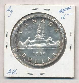 1959 Canada 80% Silver Dollar
